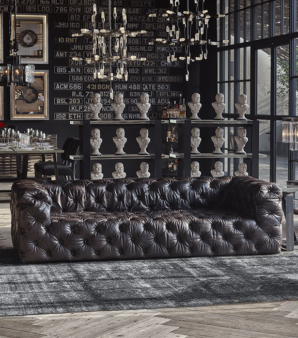 Leather Linen Sofa Tribeca Tufted